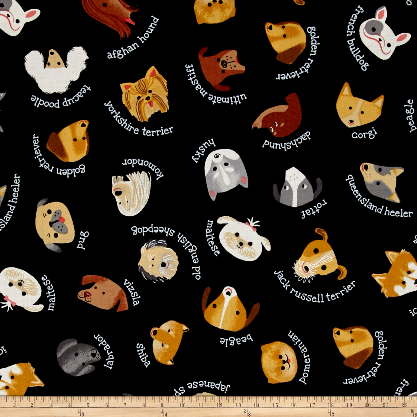 Kaufman Whiskers & Tails My Dog Black Fabric