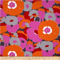 Kaufman Auntie's Attic Mod Flowers Canvas Red