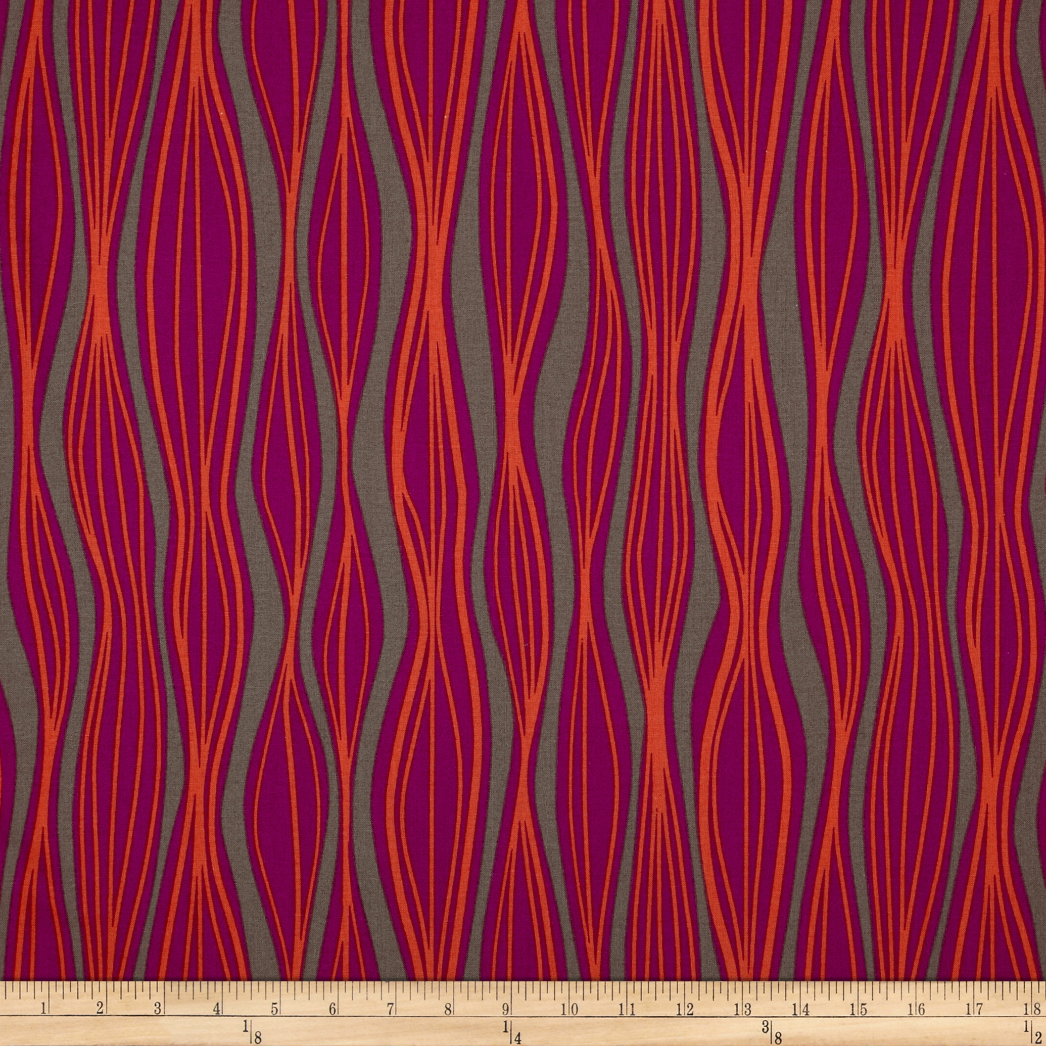 Primitivia Wavy Stripe Grey/Purple/Orange Fabric