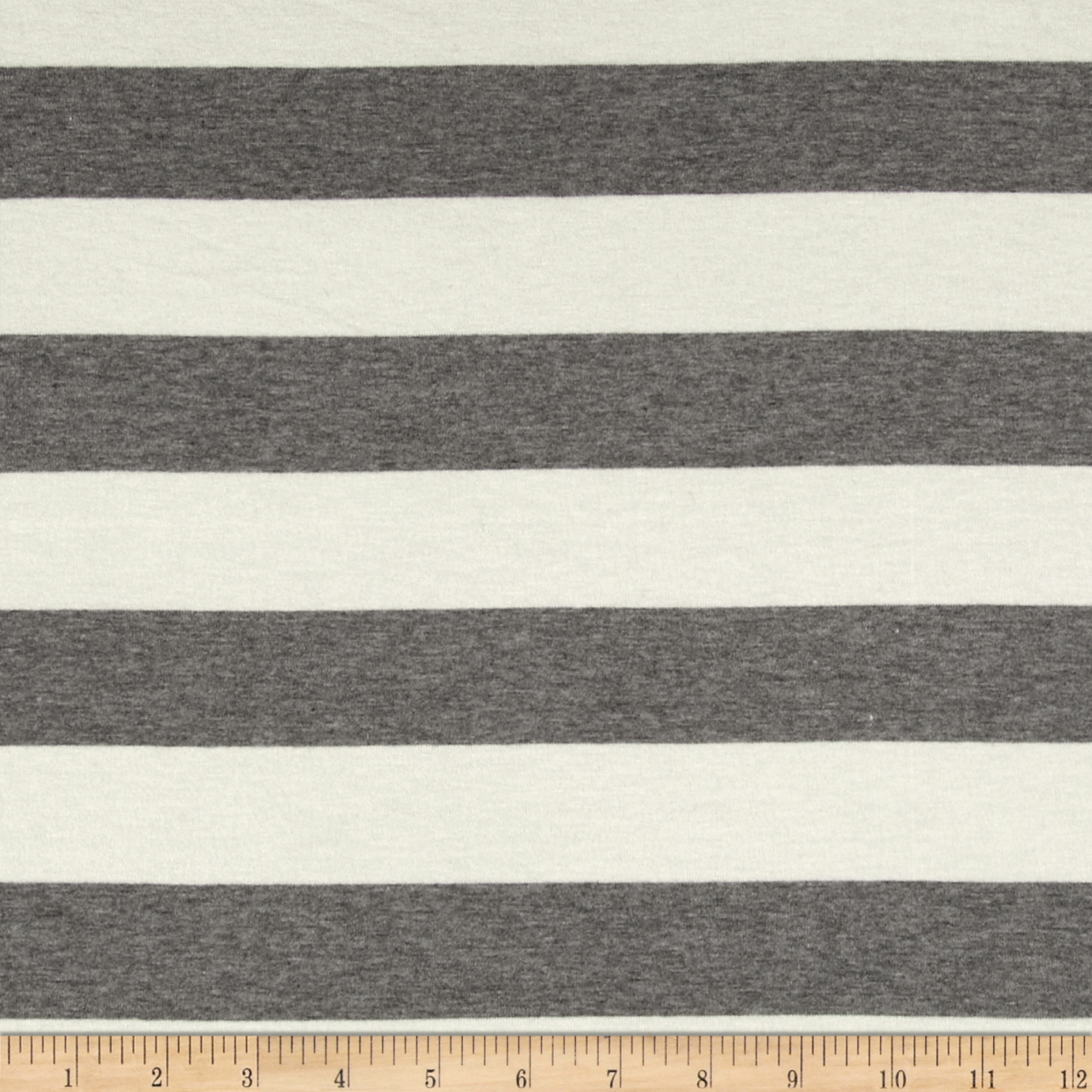 Designer Stretch Rayon Jersey Knit Stripes Ivory/Grey Fabric