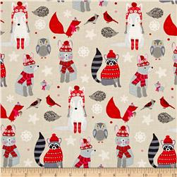 Natalie Alex Snow Delightful Winter Woodland Animals Ecru/Red