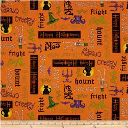 Moda Moonlight Manor Happy Halloween Words Pumpkin Orange
