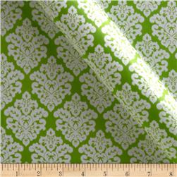 Charmeuse Satin Classic Damask Jade/Snow Fabric