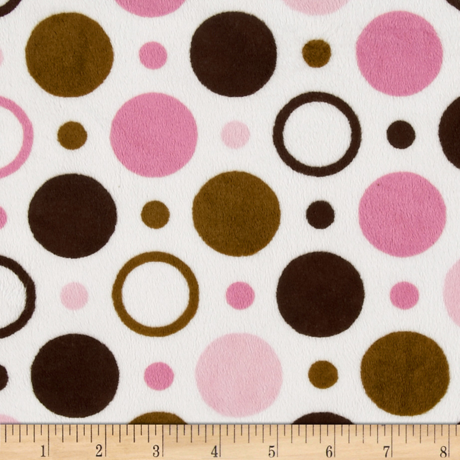 Minky space balls pink brown fabric for Space minky fabric