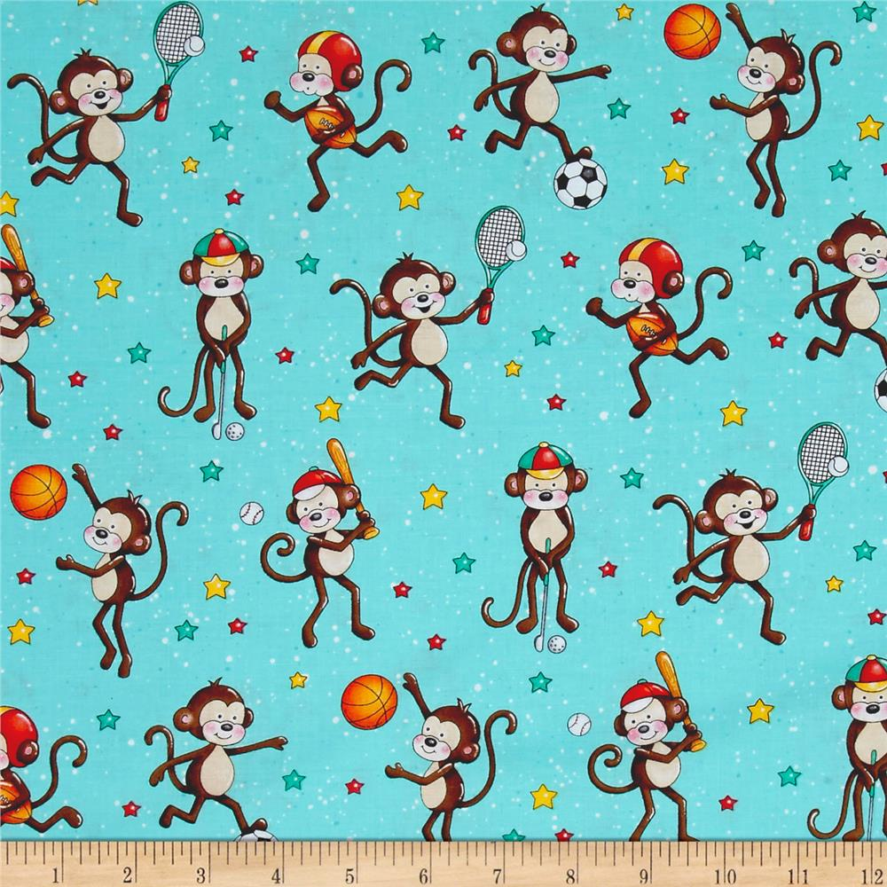 Good Sports Playing Monkeys Blue