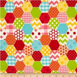 Riley Blake Hexi Print Flannel Rainbow