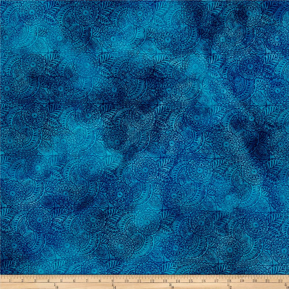 Indian Batik Medallions Light Blue