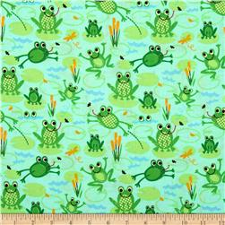 Timeless Treasures Organic Frogs Blue