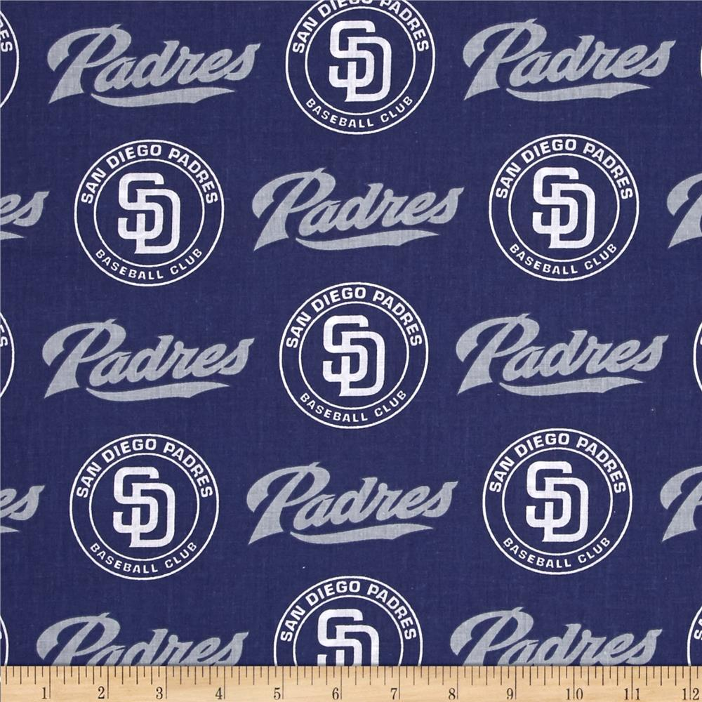 MLB Cotton Broadcloth San Diego Padres Blue/Grey Fabric By The Yard