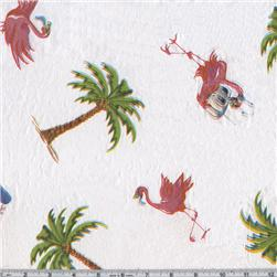Flannel Backed Vinyl Flamingo White Fabric