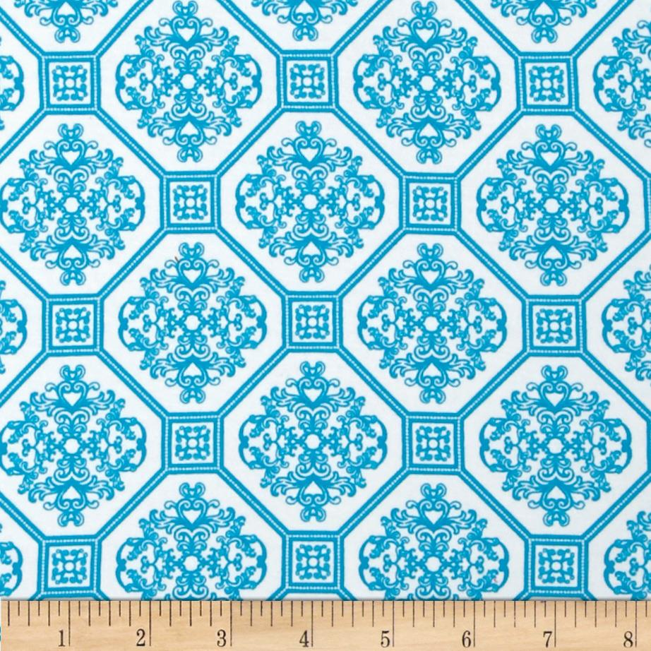 Laguna Stretch Cotton Jersey Knit  Tile Turquoise/White