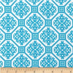 Kaufman Laguna Stretch Cotton Jersey Knit Tile Turquoise/White
