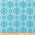 Kaufman Laguna Stretch Jersey Knit Tile Turquoise/White