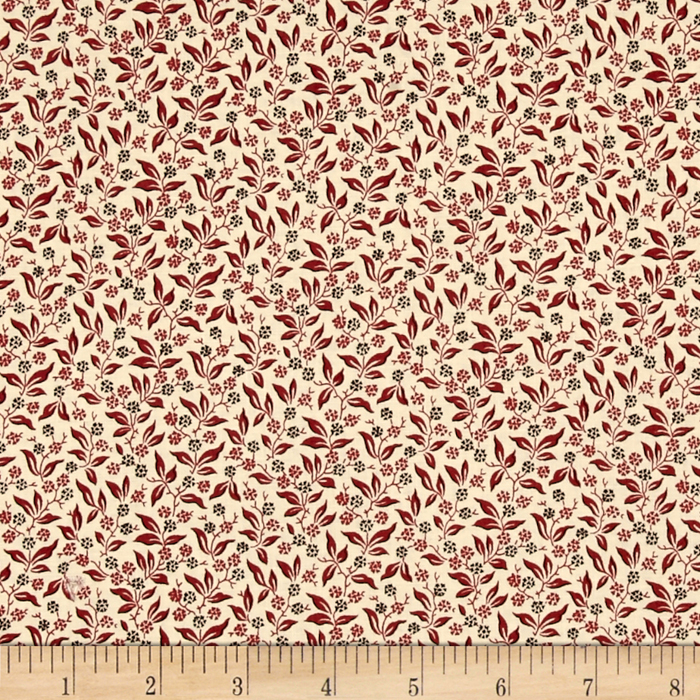 Little House On The Prairie Leaf Vine Red Fabric by Andover & Makower in USA