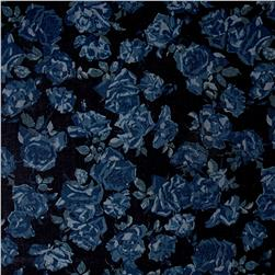 Cotton Denim Floral Print navy blue and silver