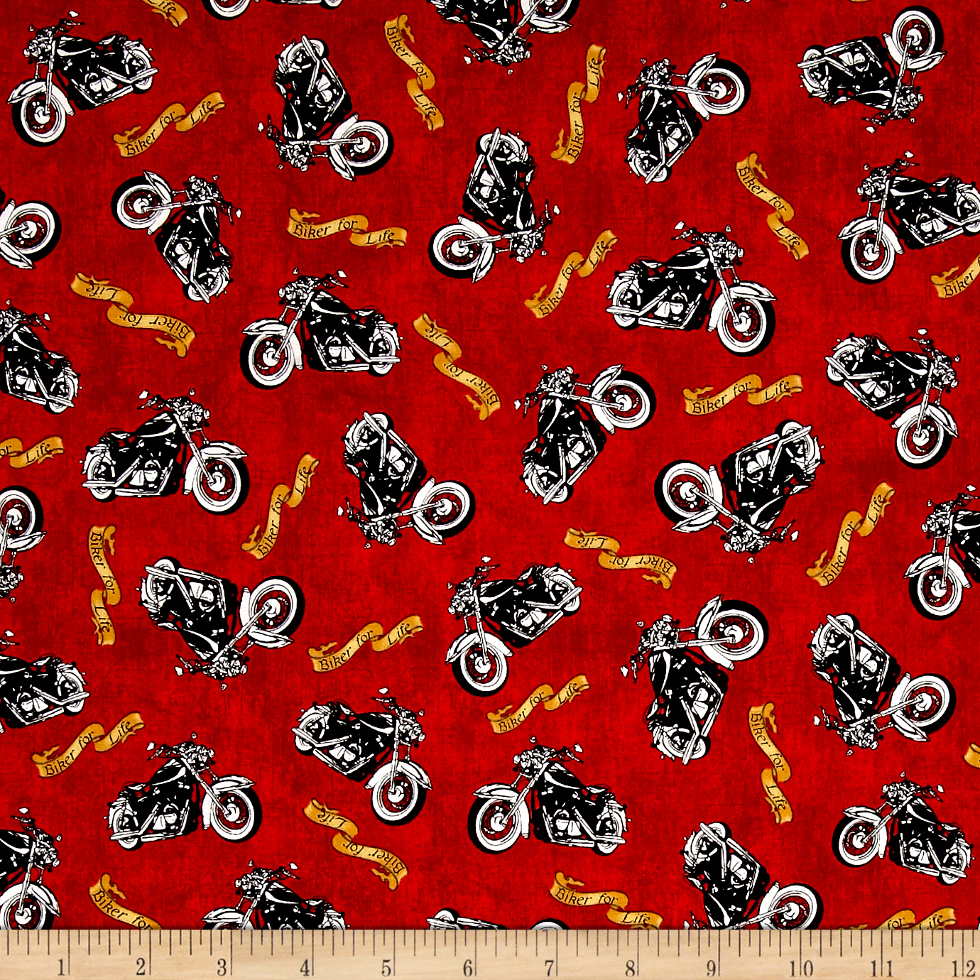 Image of Biker For Life Motorcycle Toss Red Fabric