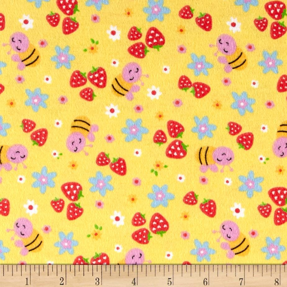 Strawberry Patch Flannel Yellow Fabric By The Yard
