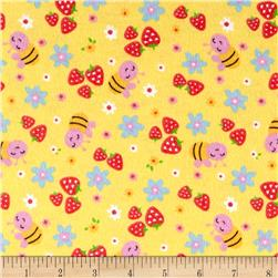 Strawberry Patch Flannel Yellow