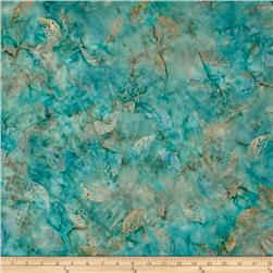 Timeless Treasures Tonga Batik Citrus Mint Floating Leaves Aqua