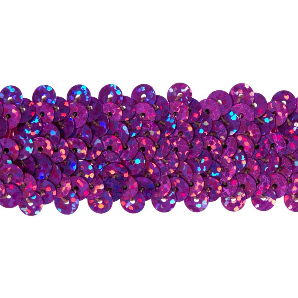 "1 1/4"" Hologram Stretch Sequin Trim Fuchsia"