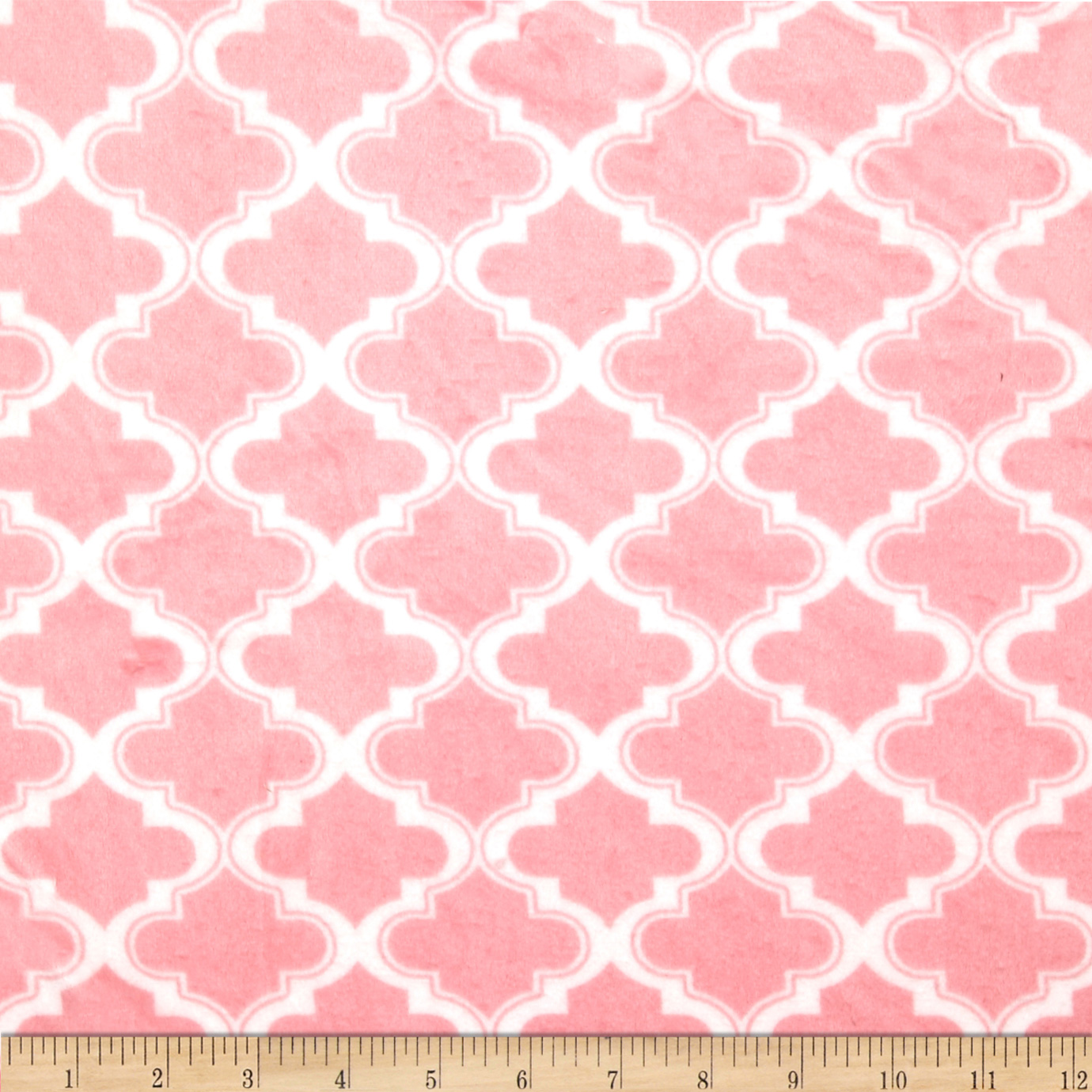 Minky Moroccan Tile Light Pink Fabric