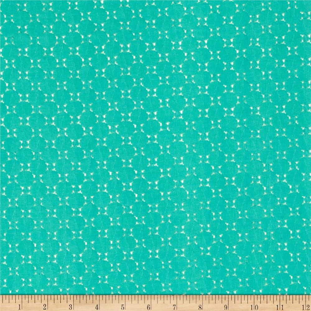 Crochet Lace Uni-Circles Turquoise Fabric By The Yard