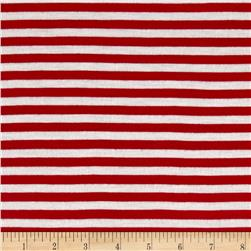 "Polyester Spandex Jersey Knit 1/4"" Stripe Off White/Red"