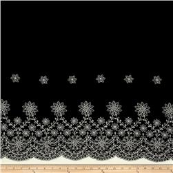 Embroidered Rayon Challis Double Border Black/Ivory