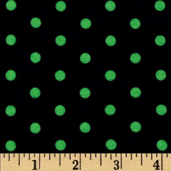 Kaufman Laguna Stretch Jersey Knit Polka Dot Navy/Green