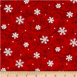 Snow Much Fun Swirling Snowflakes Snowy Berry Red