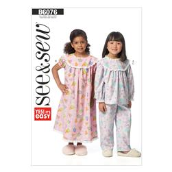 Butterick Children's Top, Gown and Pants Pattern B6076 Size 0A0