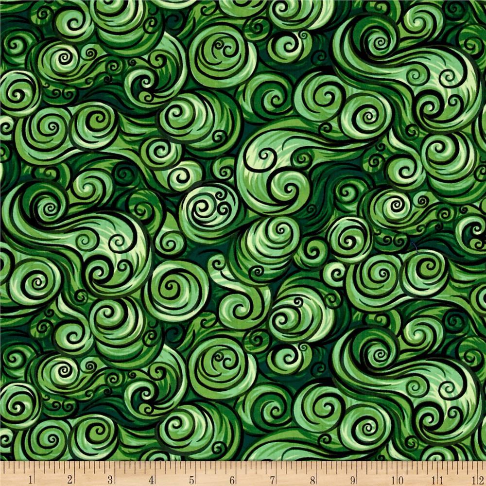 Nite Owls Swirls Dark Green