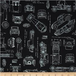 Kaufman Vintage Blue Prints Auto Sketch Black