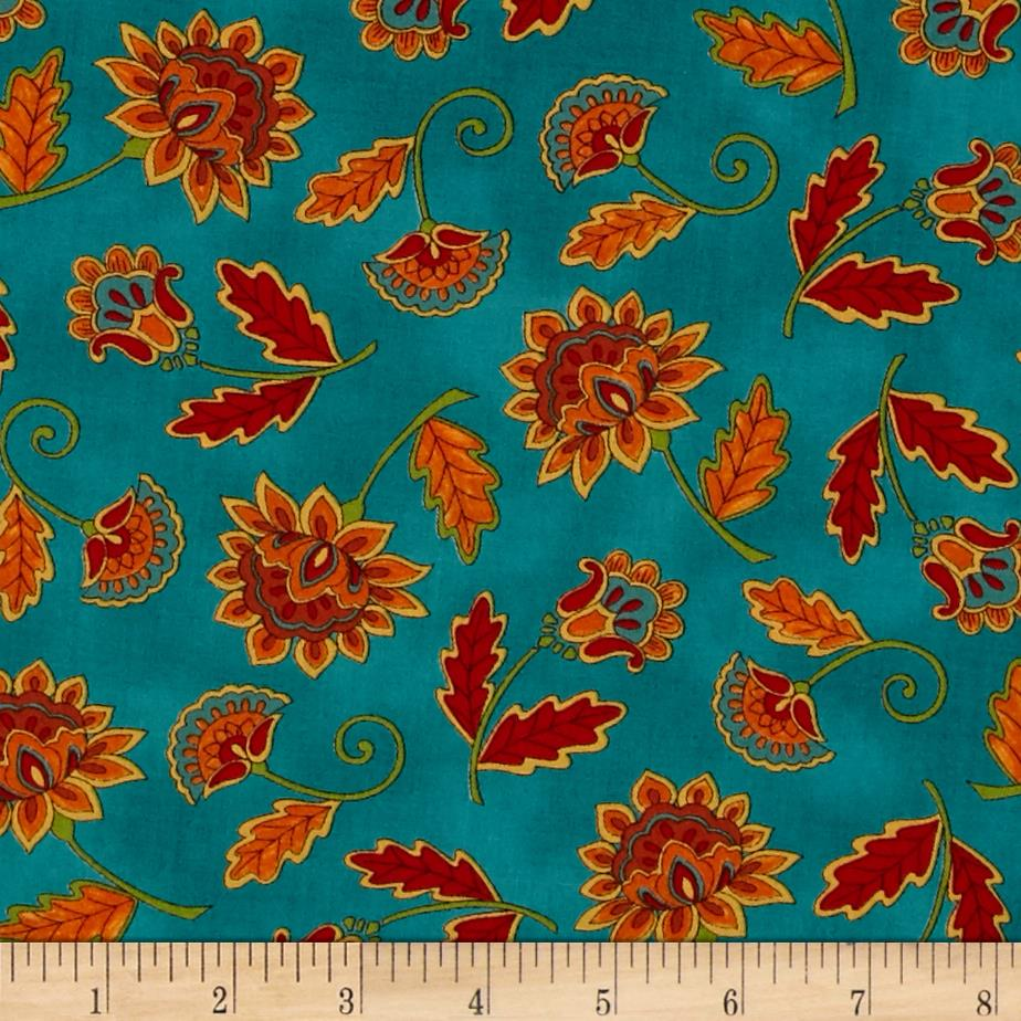 Moda Forest Fancy Fall Flowers Autumn Teal