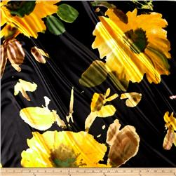 Charmeuse Satin Print Big Yellow Flowers