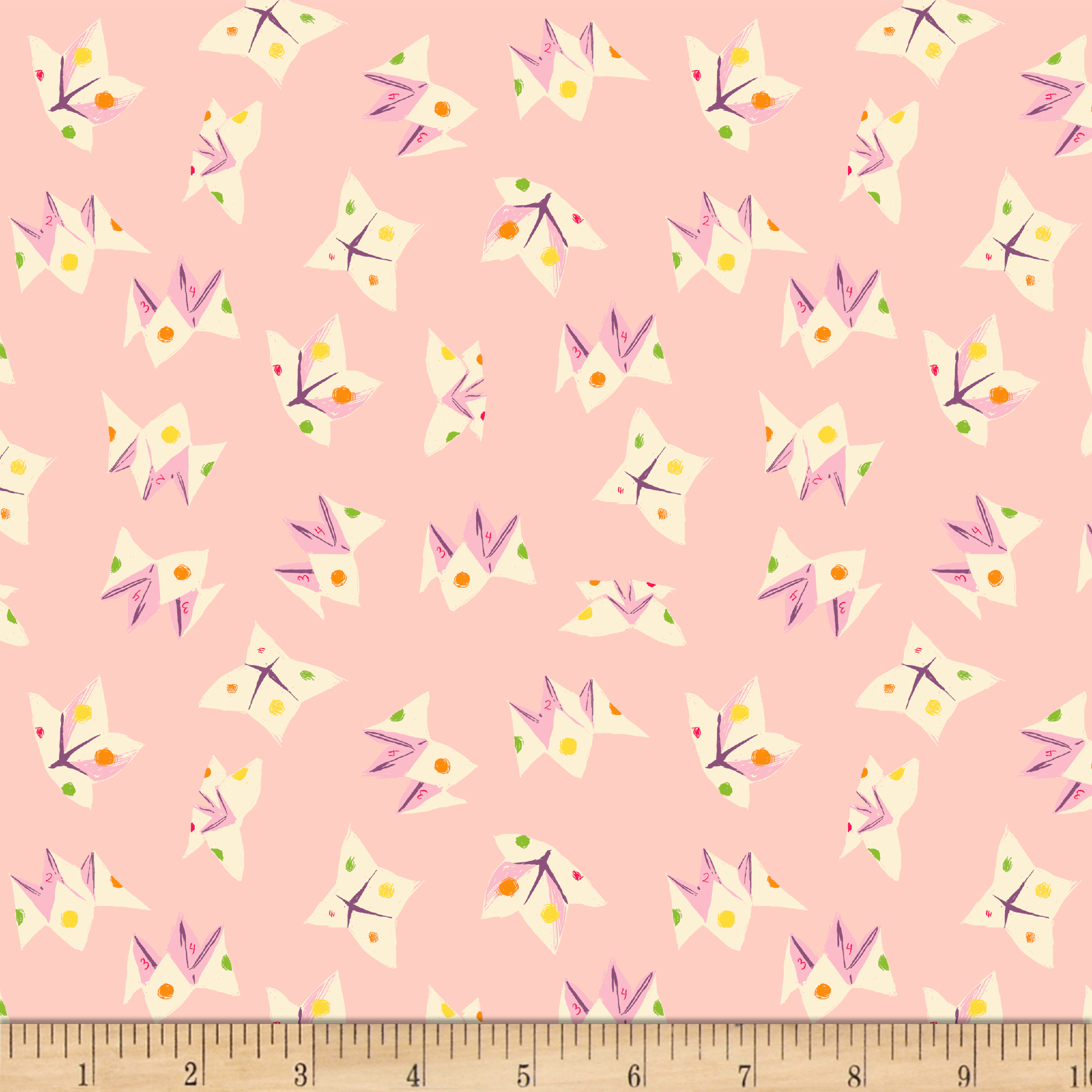 Heather Ross Sleeping Porch Lawn Fortune Teller Light Pink Fabric by Windham in USA