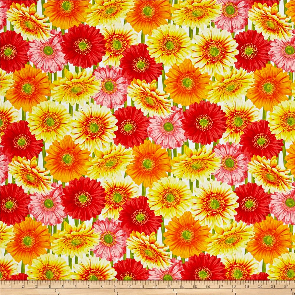 Kanvas Bloom Gerber Daisy White Fabric By The Yard