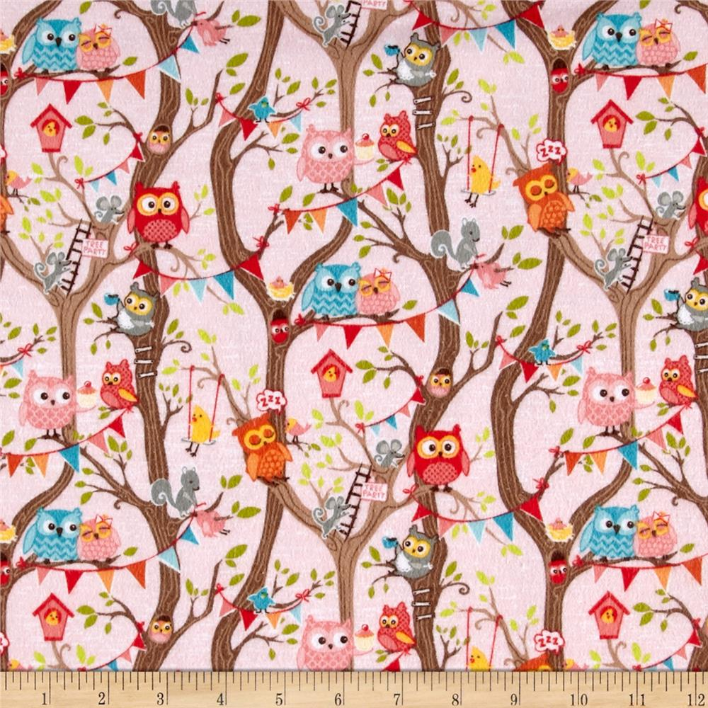 Riley Blake Tree Party Flannel Main Pink