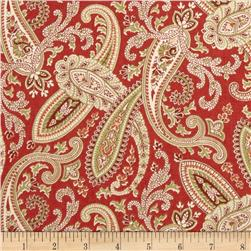 Covington Ballard Paisley Crimson Red Fabric