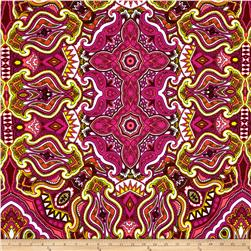 Liverpool Double Knit Print Bohemian Hot Pink/Yellow/Neon Coral/White