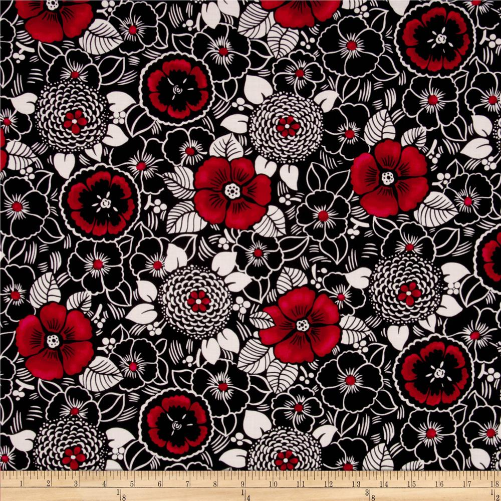 Canvas Packed Floral Black