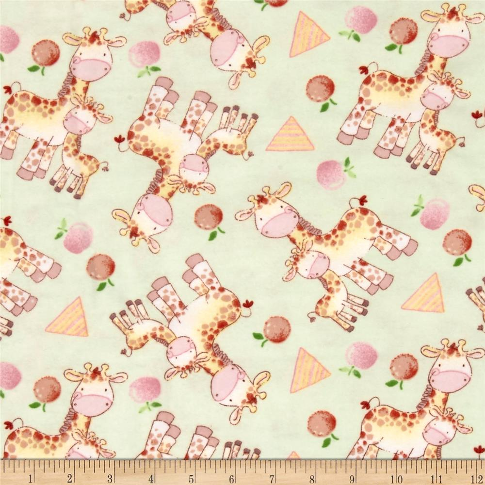 Jungle Giraffe Happy Giraffes Flannel Lime