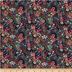 Liberty of London Kensington Crepe de Chine Elderberry Red/Blue/Multi