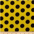 Soft Jersey Knit Dots Yellow/Black