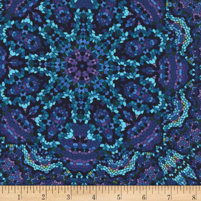 Timeless Treasures Midnight Kaleidoscope Peacock