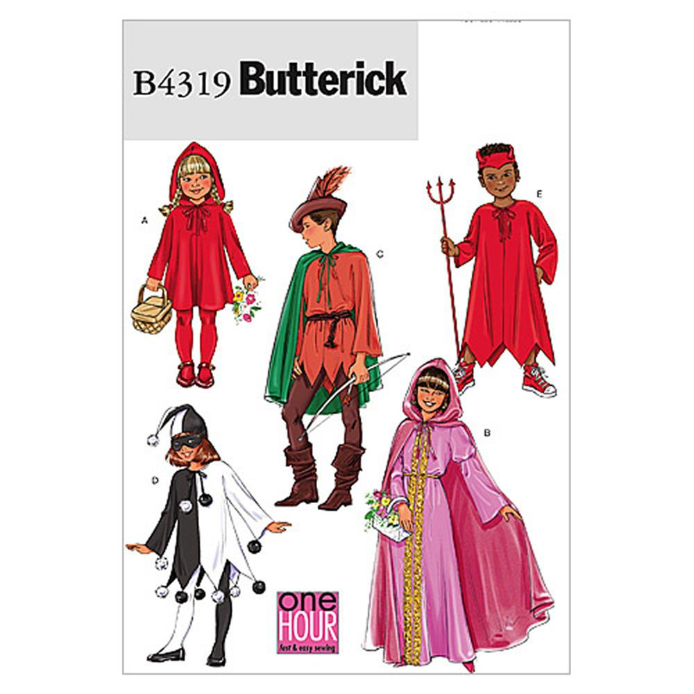 Butterick Children's/Girls' Classic Character Costumes Pattern B4319 Size KID