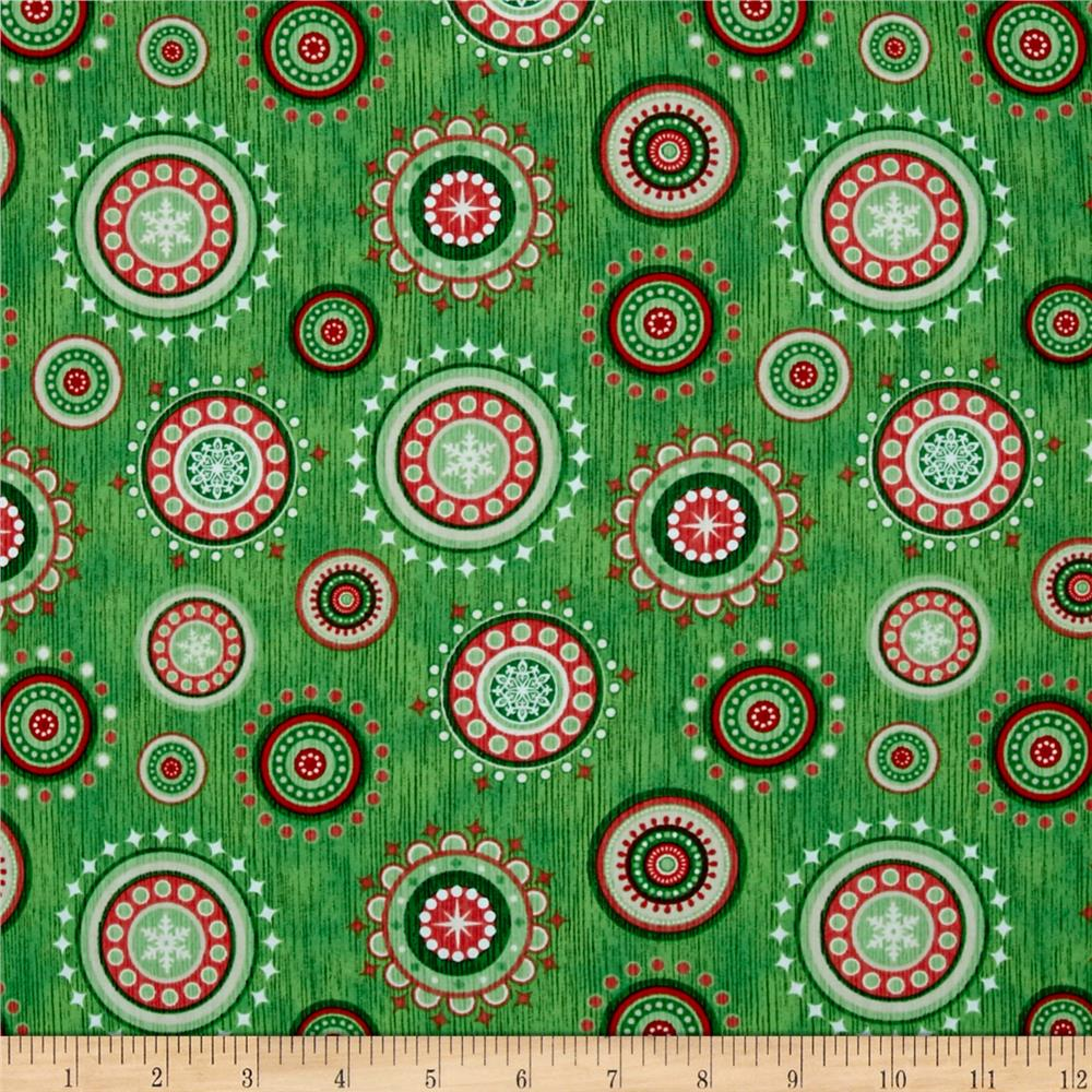 Santa Coming To Town Christmas Medallions Med Green