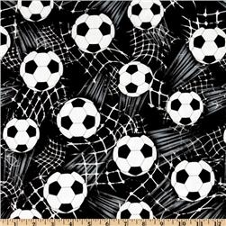 Timeless Treasures Soccer Balls Black Fabric
