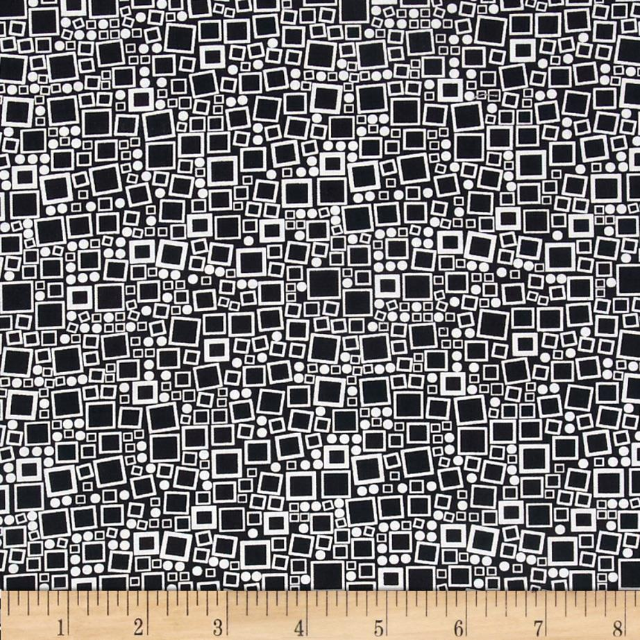 Poppy Panache Squares & Dots White on Black