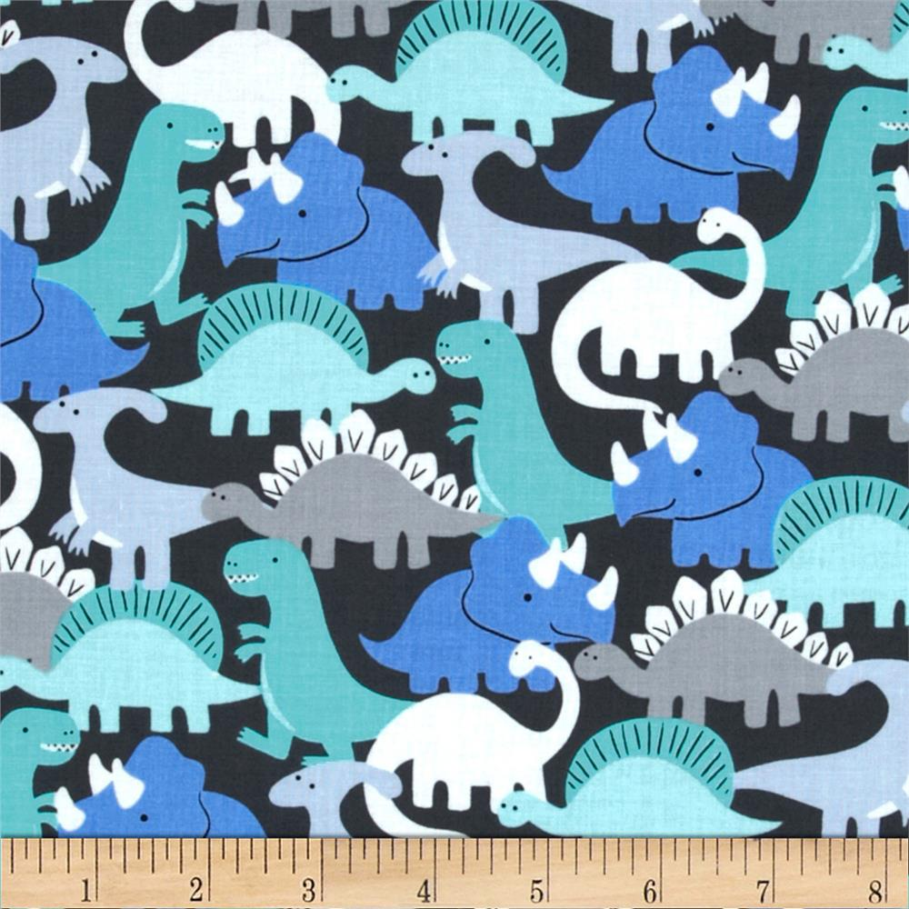 Michael miller pastel pop dino mites boy discount for Grey dinosaur fabric